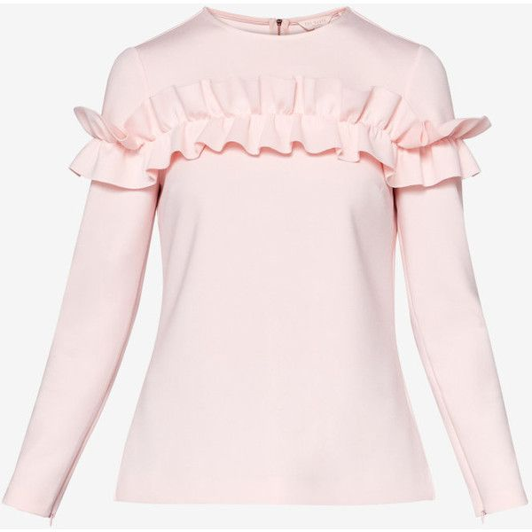 Ruffle long sleeved top (87.475 CRC) ❤ liked on Polyvore featuring tops, long sleeve tops, flutter-sleeve tops, frilled top, flounce top and zip top