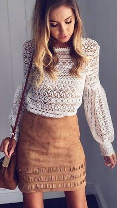 #prefall #muraboutique #outfitideas | White Lace Top   Camel Suede Skirt