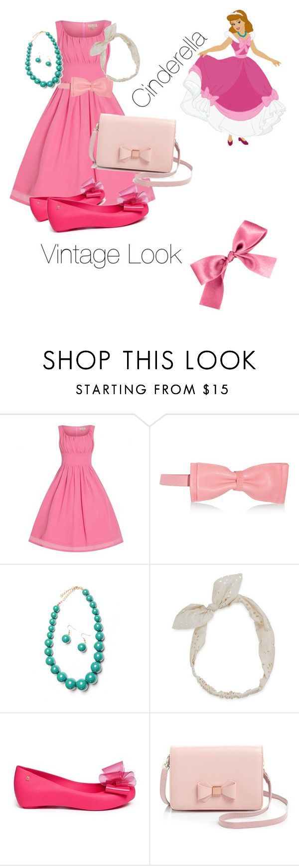 """cinderella"" by adisneygirlme ❤ liked on Polyvore featuring RED Valentino, Carole, Melissa, Ted Baker, vintage, Pink, dress, cinderella and disneybound"