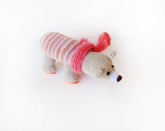 Amigurumi PINK Polar bear Soft toy knitted bear by PetsLair