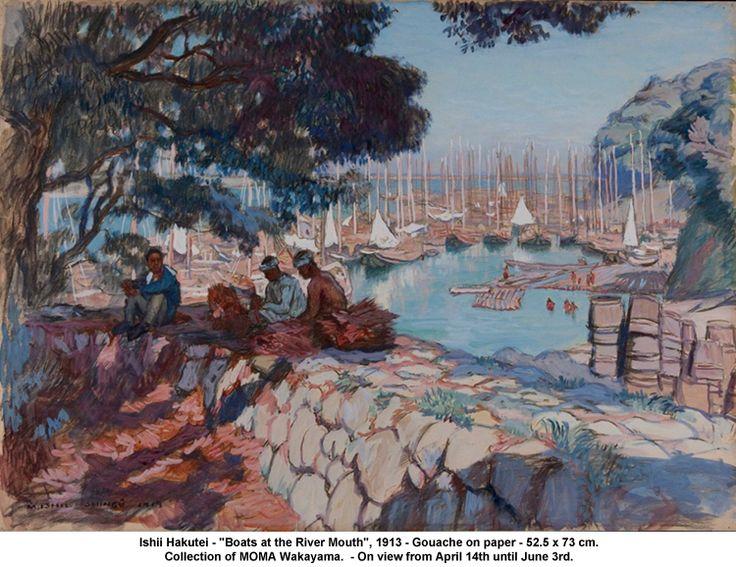 "Ishii Hakutei - ""Boats at the River Mouth"", 1913"
