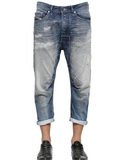 17cm Narrot Destroyed Cotton Denim Jeans