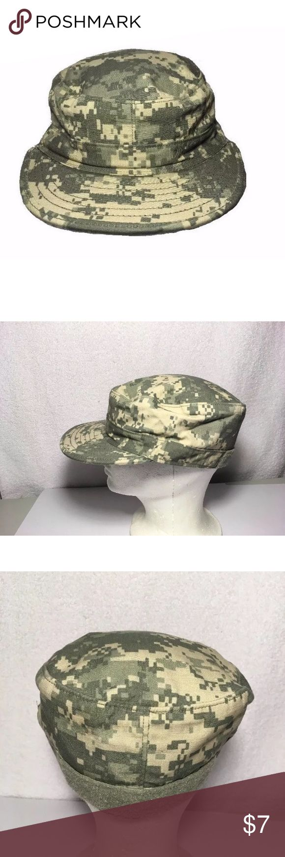 US Military Issue Army ACU Camo Patrol Cap Size 7 GI issue US Army patrol cap in digital style camo pattern. Made by SEKRI Industries. Back of hat has attachment area for name tape or cat eyes. Size 7 fitted Accessories Hats