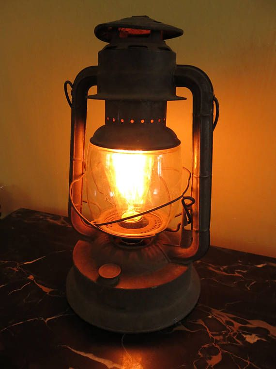 Cool Antique kerosene lantern converted to an electric lamp with Edison bulb Rustic look perfect