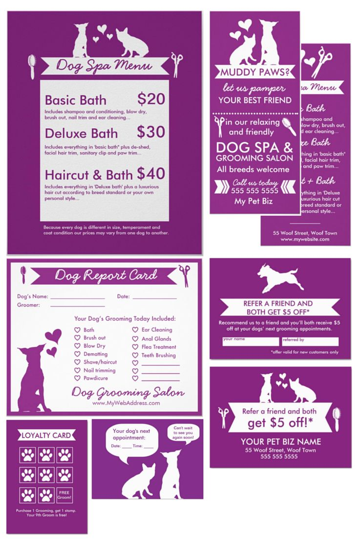 I designed this marketing toolkit for dog groomers just like you to make it as easy as possible to get your name out there, start getting new clients and retaining them. By clicking the 'customize' button, you can easily change all the text, add your own business details, logo (if you have one) and even change the font types, and background colours on all designs.  Dog Groomer | Grooming | Marketing | Grooming Salon | Business Cards | Flyers | Report Cards | Loyalty Cards | Purple