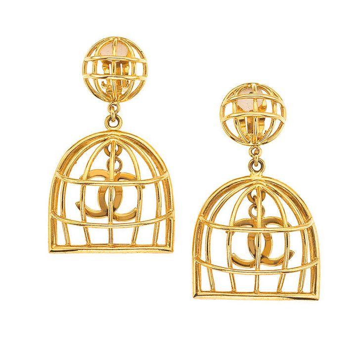 Chanel Birdcage Earrings Chanel Earrings Jewelry Earrings Dangle Vintage Chanel
