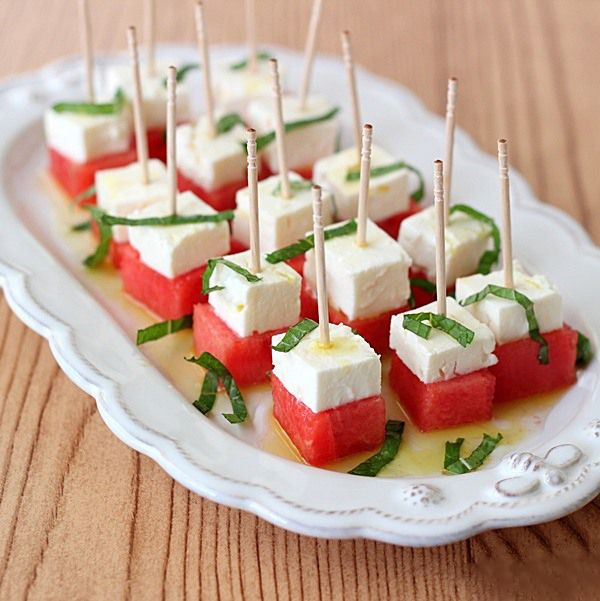 Melon, Mint and Feta Appetizer. The entire recipe on : http://theculinaryrecipes.com/melon-mint-and-feta-appetizer/
