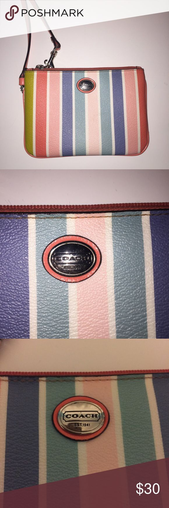 Coach wristlet Pastel colors. In very good condition. Has a pocket for cards. Coach Bags Clutches & Wristlets