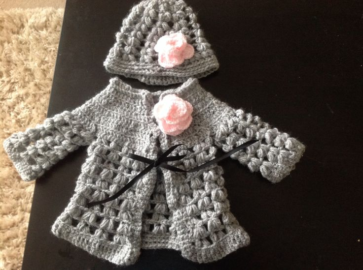 Newborn grey and pink crochet cardigan and hat