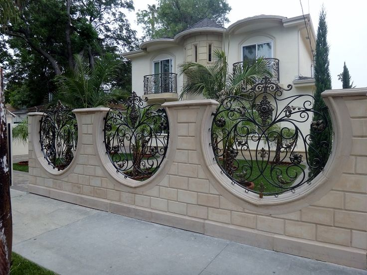 Sheet metal fence designs block wall fence pinterest for Wall gate design homes