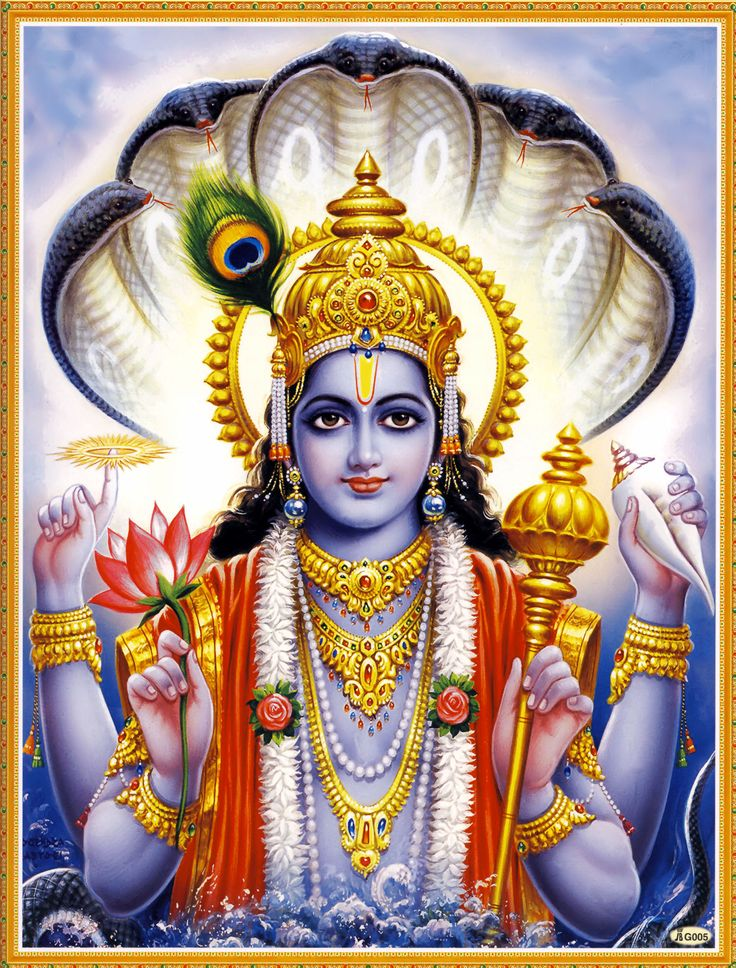 """Narayana Visnu  l'""""uomo"""" primordiale cosmico origine di tutte le cose.« Le acque sono chiamate nārā perché sono figlie dell'uomo (nara). Giacché di questi furono la prima dimora (ayana), tradizionalmente egli è conosciuto come Nārāyaṇa. » (Manusmṛti, I,10)"""