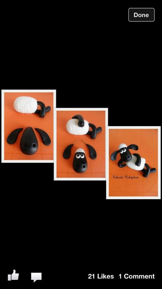 Shaun the sheep - a great way to come up with a fondant Shaun for our sons cake