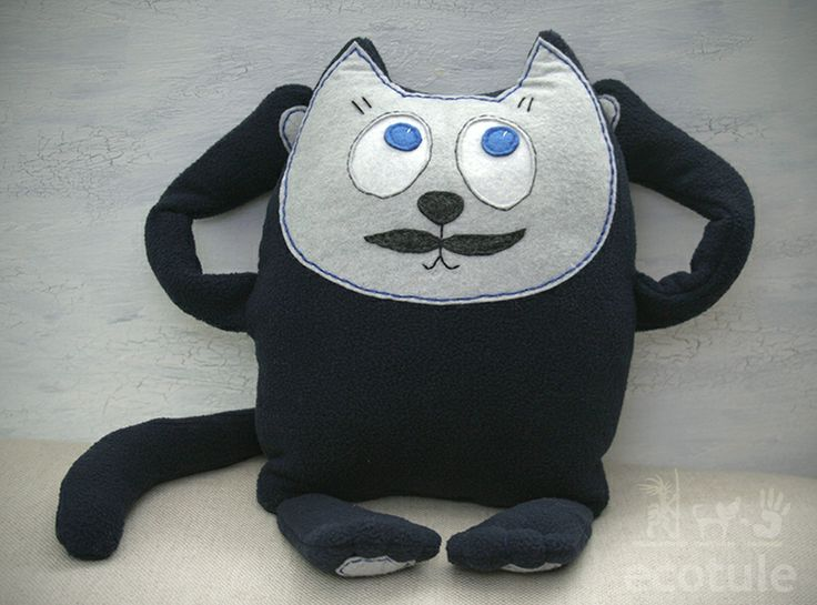This lovingly hand-embroidered mascot kitten can become your child's favorite friend.  It has cool moustaches ;) But it's very friendly, and it's a wonderful addition to a child's room.