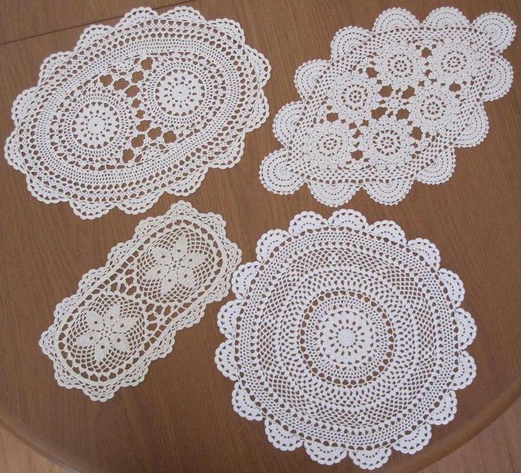 "Four Vintage Hand Crochet DOILIES in Cotton Thread ""Never Used"""