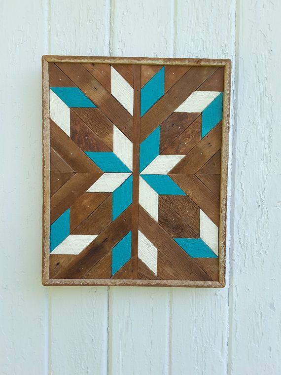 """Reciclado de madera de la pared arte madera pared decoración listón arte diamantes, mitad estrella geométrica diseño 10"""" por 13"""""""