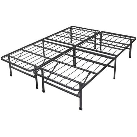 "Smart Base Foundation Bed Frame - folds for storage, twin uses two bases shown. Eliminates the need for a box spring. 14"" High, allowing under-bed storage. No tools required for assembly. Max capacity 1200lbs.Made of steel. Caps on legs to protect floor. Twin: 75""L x 39""W x 14""H. See video."