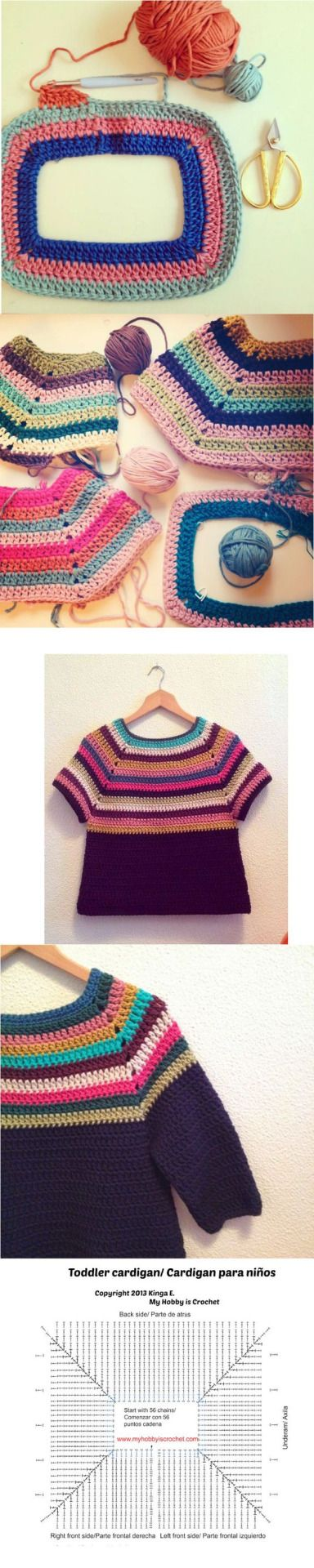 This is such a smart little idea! The original pattern for this toddler cardigan has been amended. Instead of dividing for the button band, just crochet around the yoke of the neck to get this effect. Nice! Found via Pinterest.