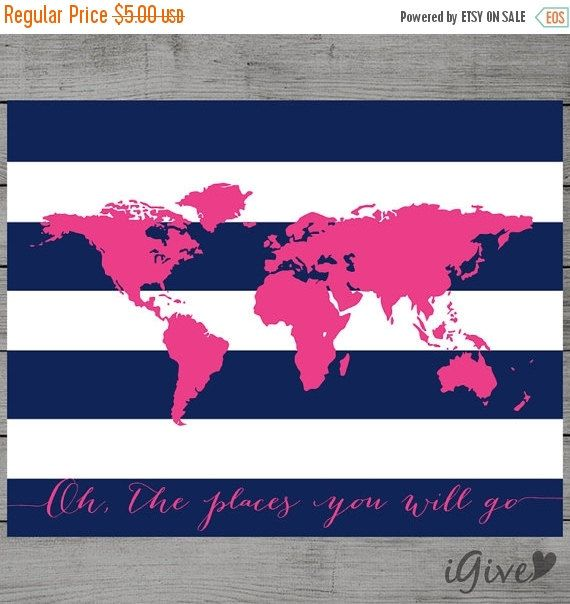 Spring Sale World Map Navy Blue and Hot Pink Nursery Wall Art 11x 14 inches / Instant Download / Oh the places you will go