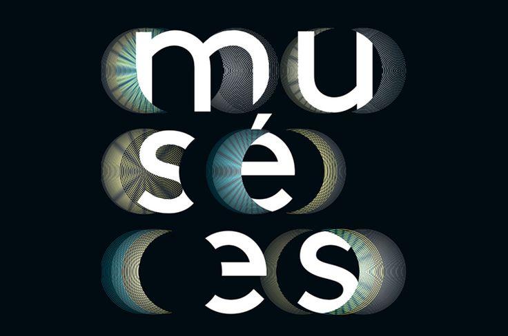 Un jeu de couleurs mordorées illumine ou masque les lettres rondes en simulant une éclipse.