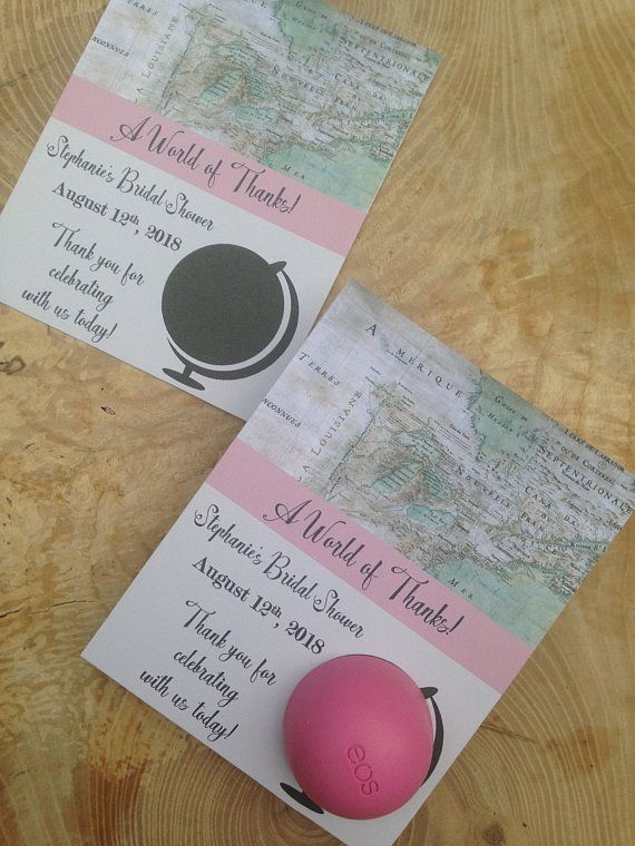 a world of thanks bridal shower eos lip balm favor cards printable world globe map old vintage welcome to the world pink ivoryblue