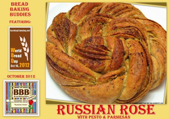 """Sweet and That's it: Russian Rose Bread with Pesto and Parmesan Pane """"Russian Rose"""" con Pesto e Parmigiano"""