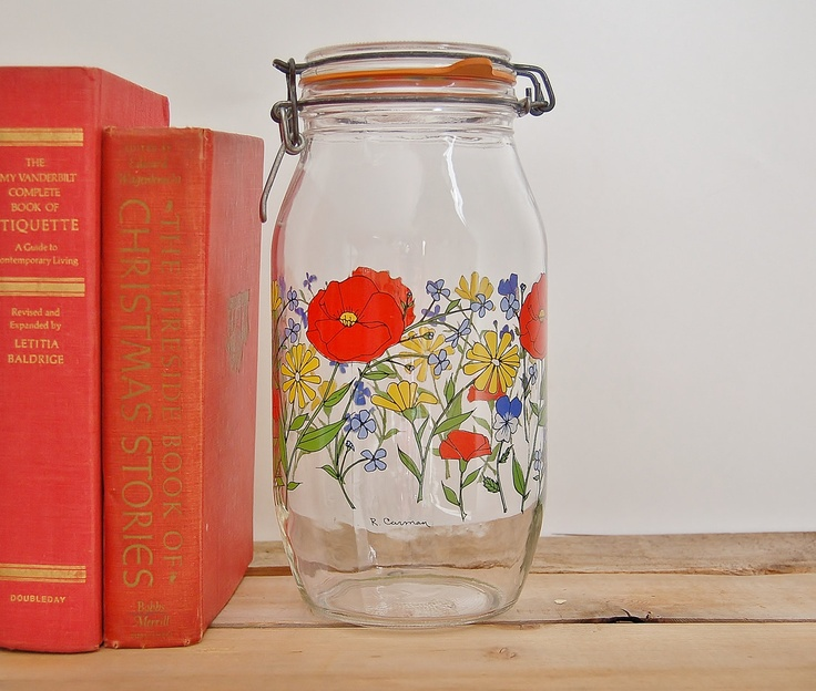 large glass jar with hinged lid 2l arc made in france bright floral poppy design - Large Glass Jars