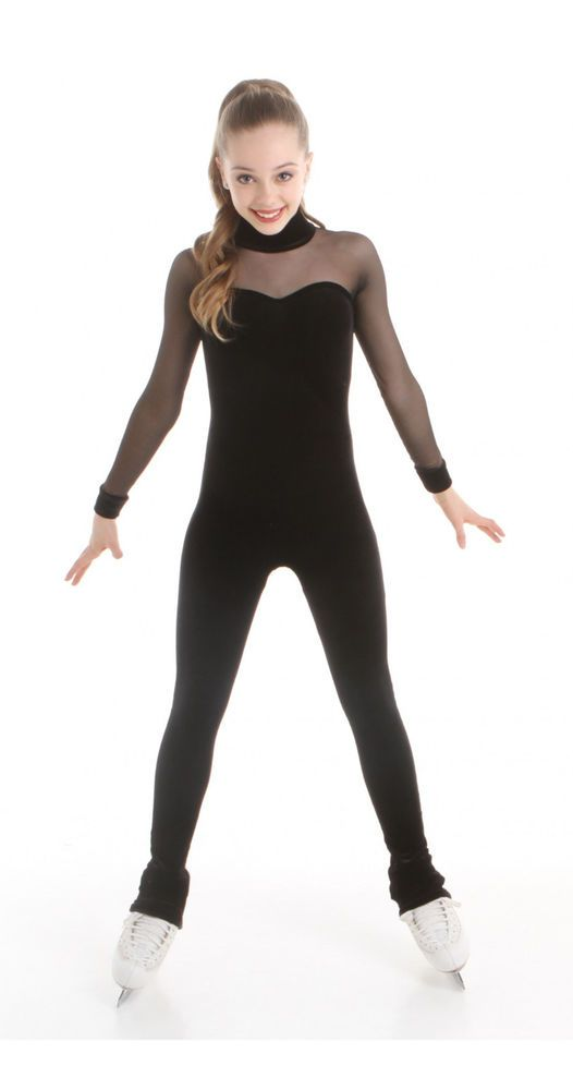 New Competition Skating BLACK VELVET 1 PIECE WITH MESH SLEEVES XPSport1516 8-10 #EliteXpression