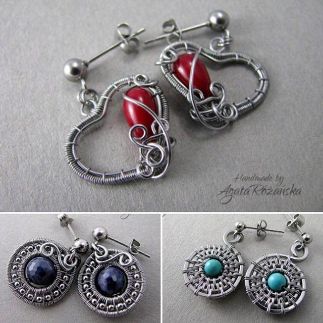 Takie 2,5 cm maleństwa pojawiły sie w sklepie! ❤ Koral, szafir i turkus! Jest pięknie! ❤❤ www.agatarozanska.eu  #wirewrapped #wirewrap #wirewrapping #wirewrappingjewelry #handmadejewellery #recznierobione #handmade #jewellery #earrings #kolczyki #szafir #turkus #koral #agatarozanska #saphire #turquise #redcoral