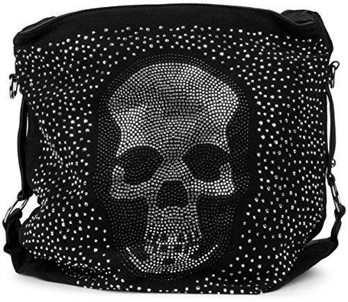 styleBREAKER Beutel Handtasche mit Strass Totenkopf und Strass Nieten Applikation, Tasche, Damen 02012024, Farbe:Schwarz