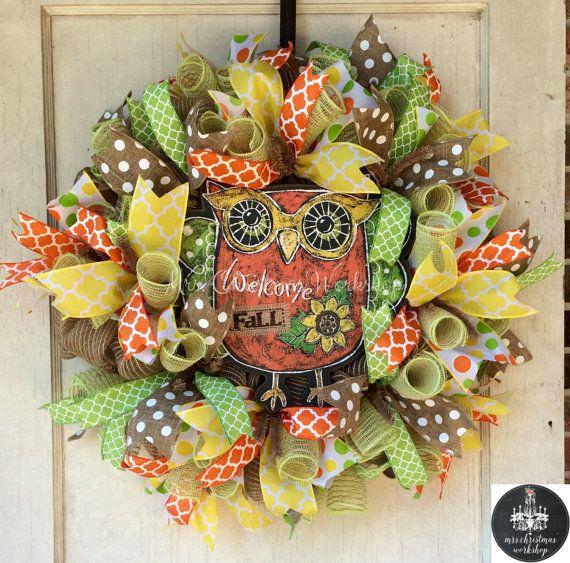 Burlap wreath fall wreath deco mesh wreath by MrsChristmasWorkshop