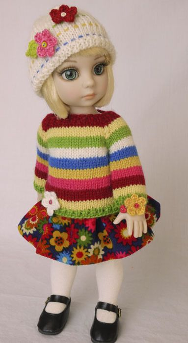An OOAK outfit for Tonner's Patsy doll.  This colorful fall outfit includes hand knit wool striped sweater, hat, and corduroy skirt.