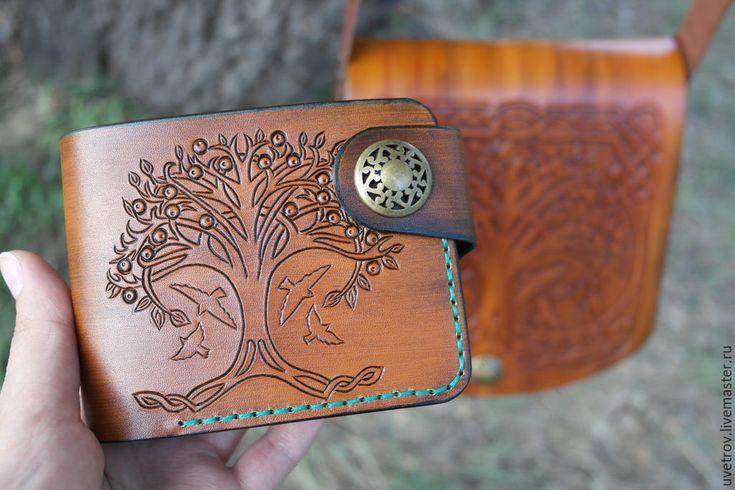 """Купить кошелек """"Кельтское дерево"""" - рыжий, рисунок, кошелек ручной работы, кошелек женский"""