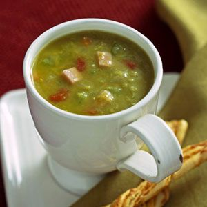 Split Pea Soup  A steaming bowl of hot pea soup, dotted with bits of smoky ham, is a great comfort food on a cold winter day. Pea soup freezes well so file this one with your make-ahead recipes.