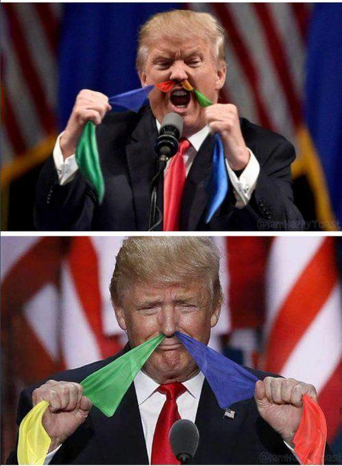 ドナルドトランプが鼻から旗を出してるクソコラが話題に - Togetterまとめ