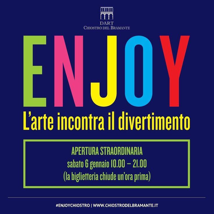 ENJOY   Apertura straordinaria  Sabato 6 gennaio ingresso in mostra fino alle ore 20.00ℹ Info  http://ift.tt/1RCdo6D