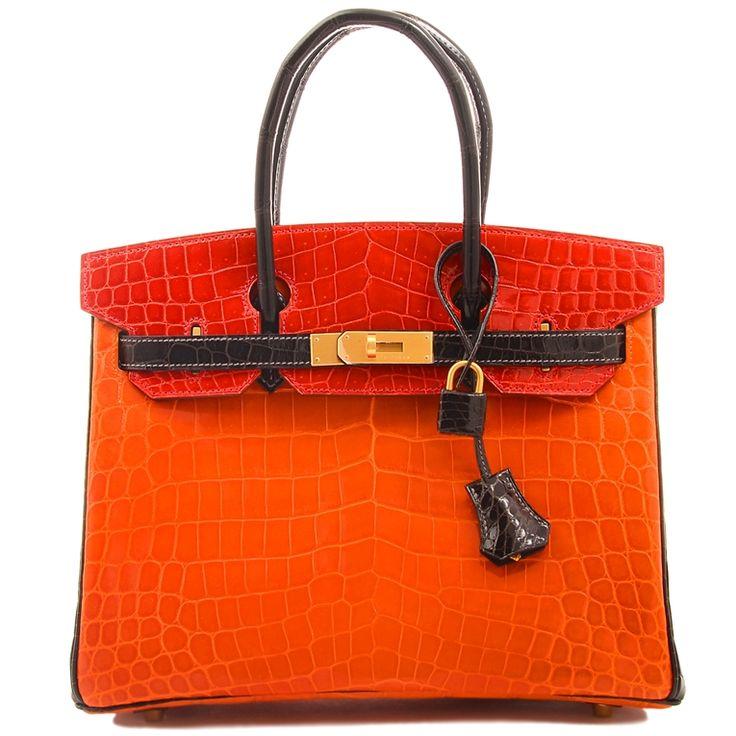 Hermes Birkin Crocodile Bag in Tri-color Horseshoe Orange with ...