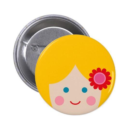 cheerful face 1 pinback button