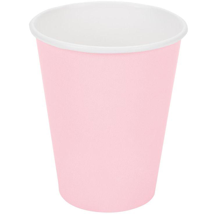 Flot lyserød papkrus til kolde og varme drikke til festen. Stort udvalg af billig engangsservice til festen og fødselsdagen.
