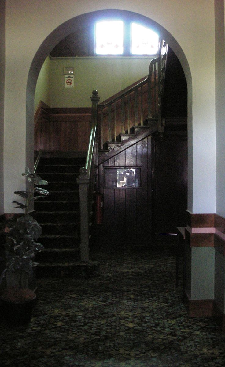Interior staircase & stained-glass window of the Marma Gully Hotel, Murtoa. Built on the site of the earlier 1874 Commercial Hotel.