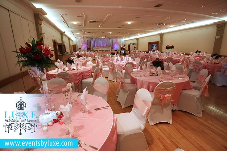 Quinceanera Hall Decorations Pink Pink and white ...