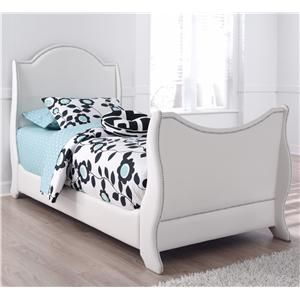 Signature Design By Ashley Mivara Twin Faux Leather Upholstered Sleigh Bed  With Nailhead Trim   Turk