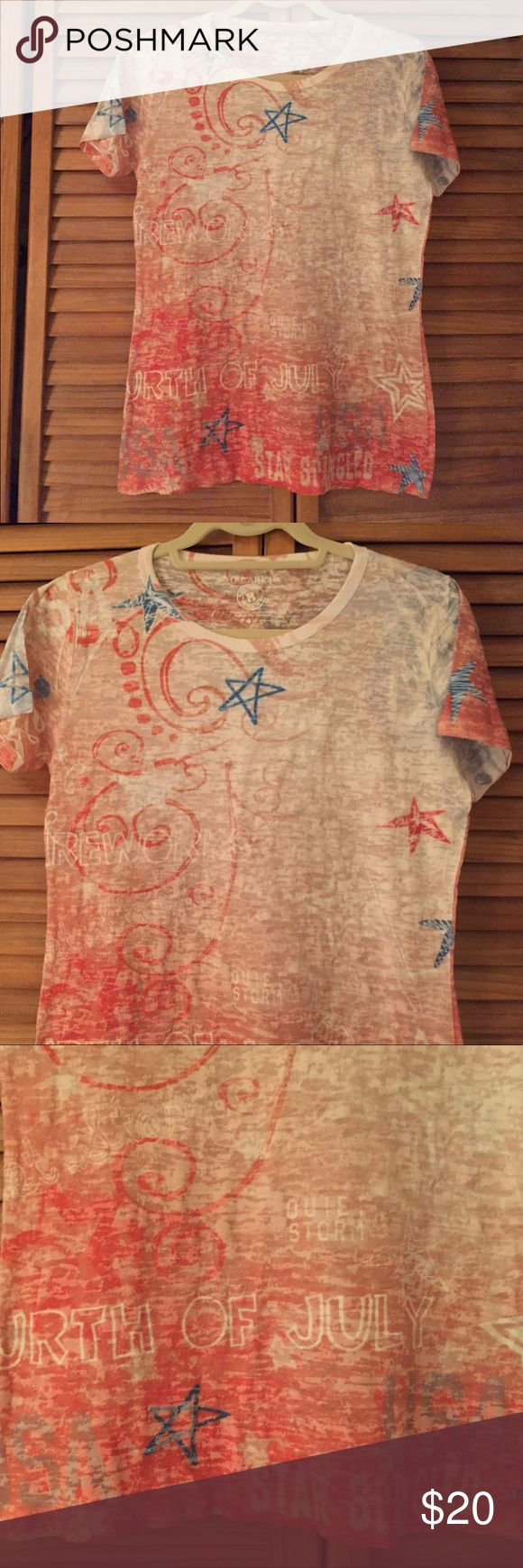 Quiet Storm 4th of July burnout tee Burnout weight festive Tee! Excellent condition Quiet Storm Tops Tees - Short Sleeve