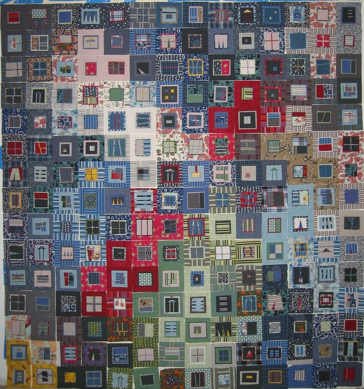 Fisher Foresi Quilt - Erin Wilson Quilts - made in memory of a brother, using his clothing, boxers, pants, button down shirts.