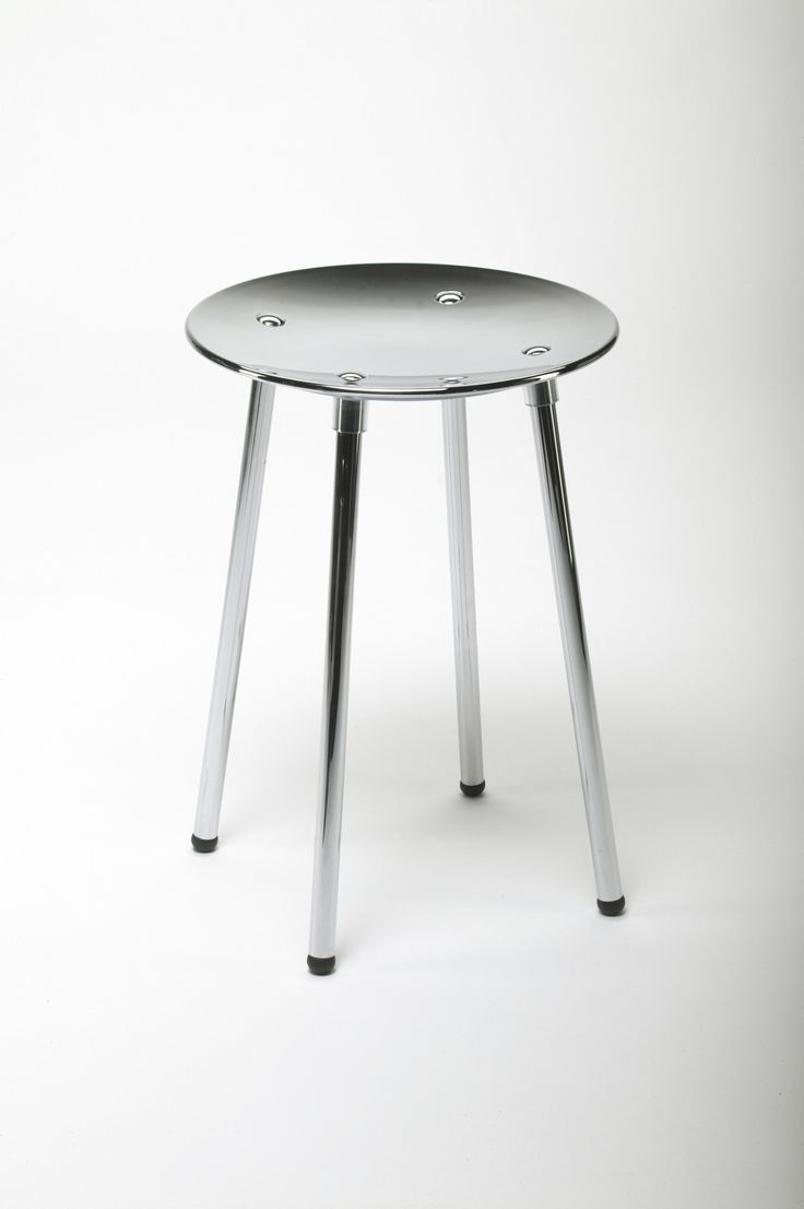 Kin Noni Backless Vanity Stool Bench, With Chrome Metal Legs