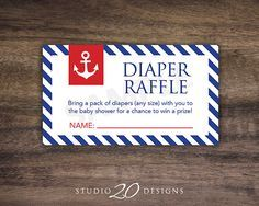 Instant Download, Anchor Baby Shower Diaper Raffle Cards, Printable Party Sheets, Boy Red White Blue Striped Sailor Nautical #26A on Etsy, $1.50