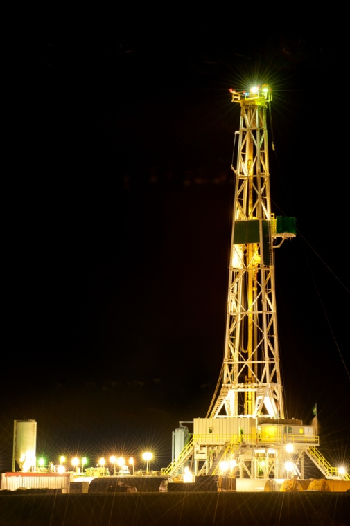 Oil rig at night amazing how this is so beautiful yet not something you think it would be.