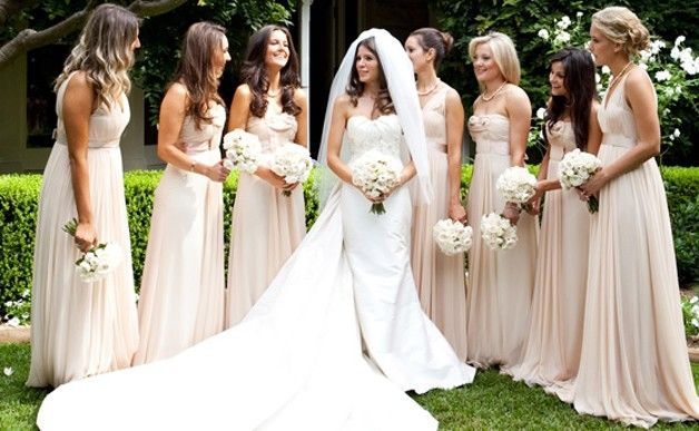 Average Australian Wedding Prices.: Long Dresses, Wedding Bridesmaid Dresses, Ideas, White Flower, Color, Weddings, Champagne Bridesmaid, Neutral Bridesmaid, The Dresses