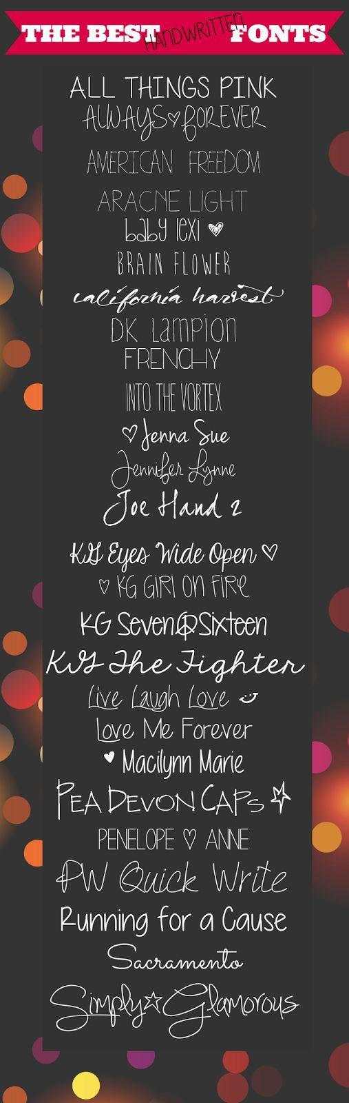 The Best FREE Handwritten Fonts from It's Always Ruetten ~~ {26 free fonts w/ links}