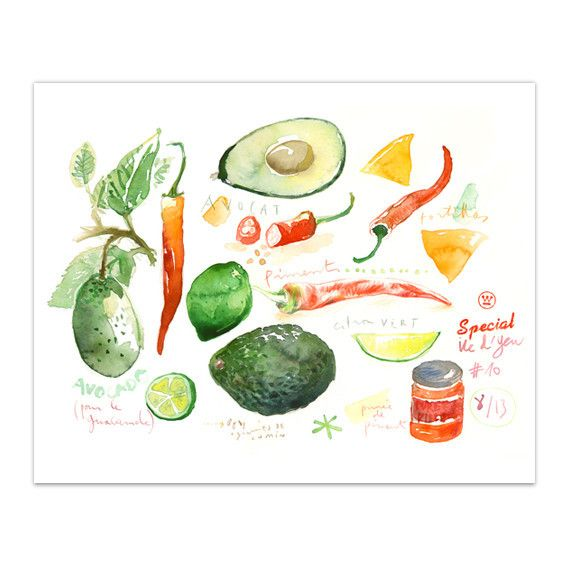 """Guacamole ingredients Archival giclee reproduction print from original watercolor illustration. Signed with pencil. Format : Horizontal Printed on fine art """" BFK Rives """" hot-pressed paper, smooth surf"""