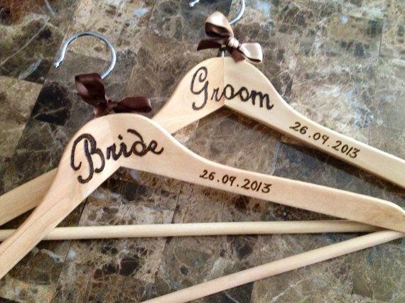 Bride Groom Wedding Wood burned Hangers